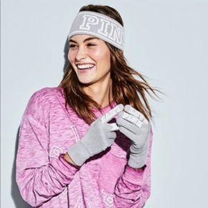 Victoria Secret gray gloves and headband set